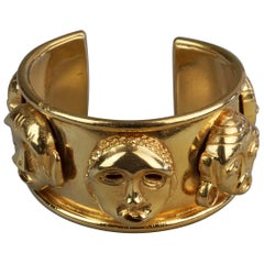 "Vintage ISABEL CANOVAS ""TRAORE"" Important Mask Bracelet Cuff"