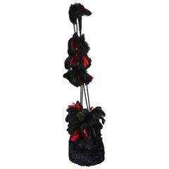 Vintage ISABEL CANOVAS Whimsical Feather Faux Astrakhan Shoulder Bag