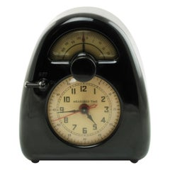 Vintage Isamu Noguchi Measured Time Black Bakelite Clock and Kitchen Timer Model