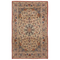 Vintage Isfahan Traditional Tan and Red Wool-Silk Persian Rug
