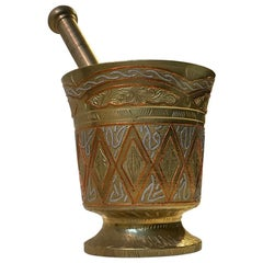 Vintage Islamic Bronze Mortar with Silver and Copper Inlay, Tunisia
