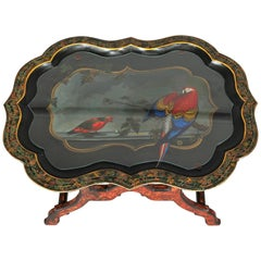 Vintage Island Scene Hand Painted and Gilt Toleware Tray Table, 20th Century