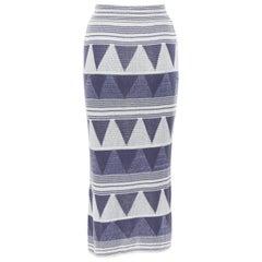 vintage ISSEY MIYAKE 1980's ethnic blue grey geometric wool knit midi skirt M