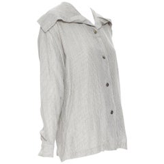 vintage ISSEY MIYAKE 1980's grey striped sailor collar neck casual shirt M