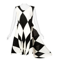 Vintage Issey Miyake Pleats Please Black and Ivory Harlequin Sculptural Dress