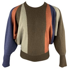 Vintage ISSEY MIYAKE Size S Multi-Color Color Block Wool Blend Crew-Neck Sweater