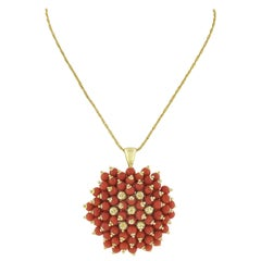 Vintage Italian 14k Gold Red Coral & Textured Bead Large Round Pendant Necklace