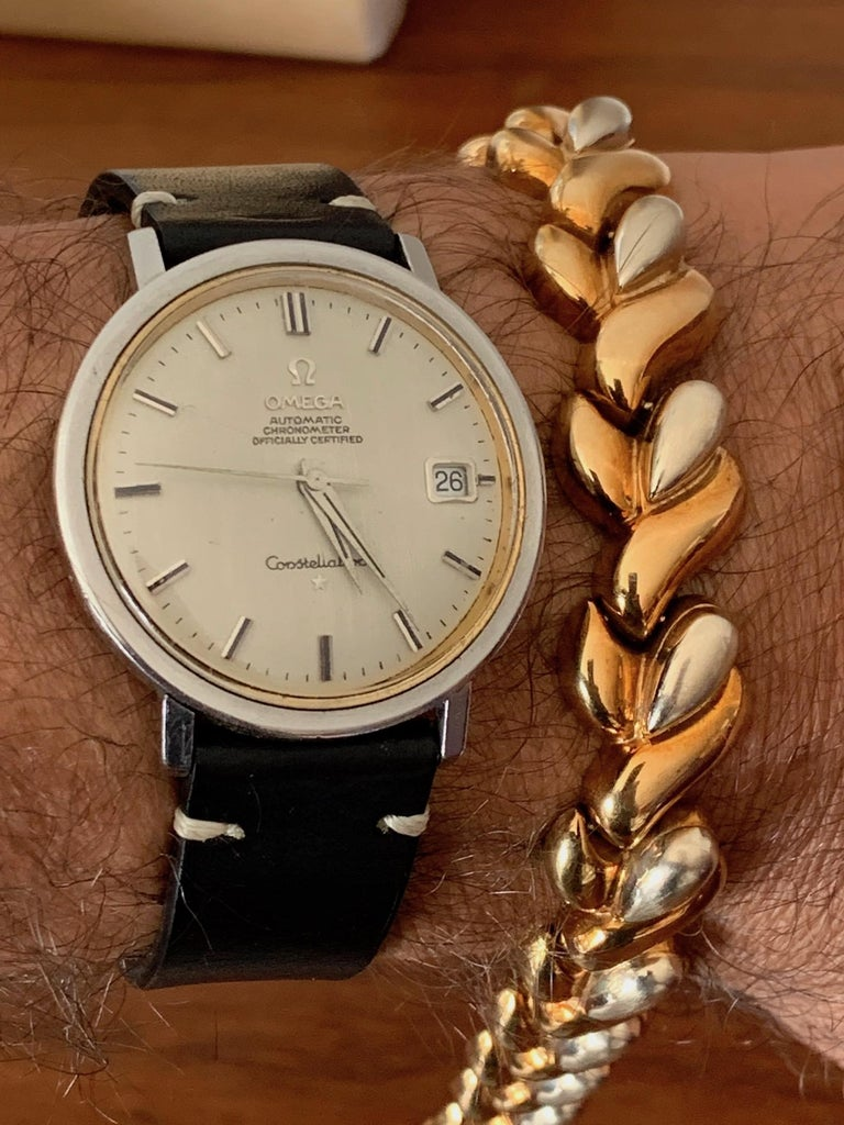 Vintage Italian 14-Karat Gold Two-Tone Bracelet For Sale 7