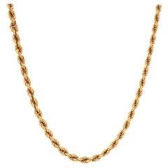 Vintage Italian 18 Karat Gold Rope Chain