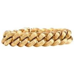 Vintage Italian 18 Karat Gold Textured Chain Link Braided Bracelet