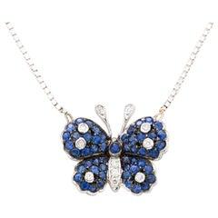 Vintage Italian 18 Karat White Gold Ladies Butterfly Pendant Necklace