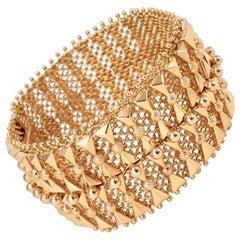 Vintage Italian 18 Karat Yellow Gold Mesh Bracelet, 1950s