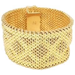Vintage Italian 18 Karat Yellow Gold Retro Mesh Bracelet, 1960s