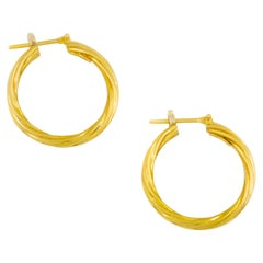Vintage Italian 18 Karat Yellow Gold Twisted Hoop Earrings