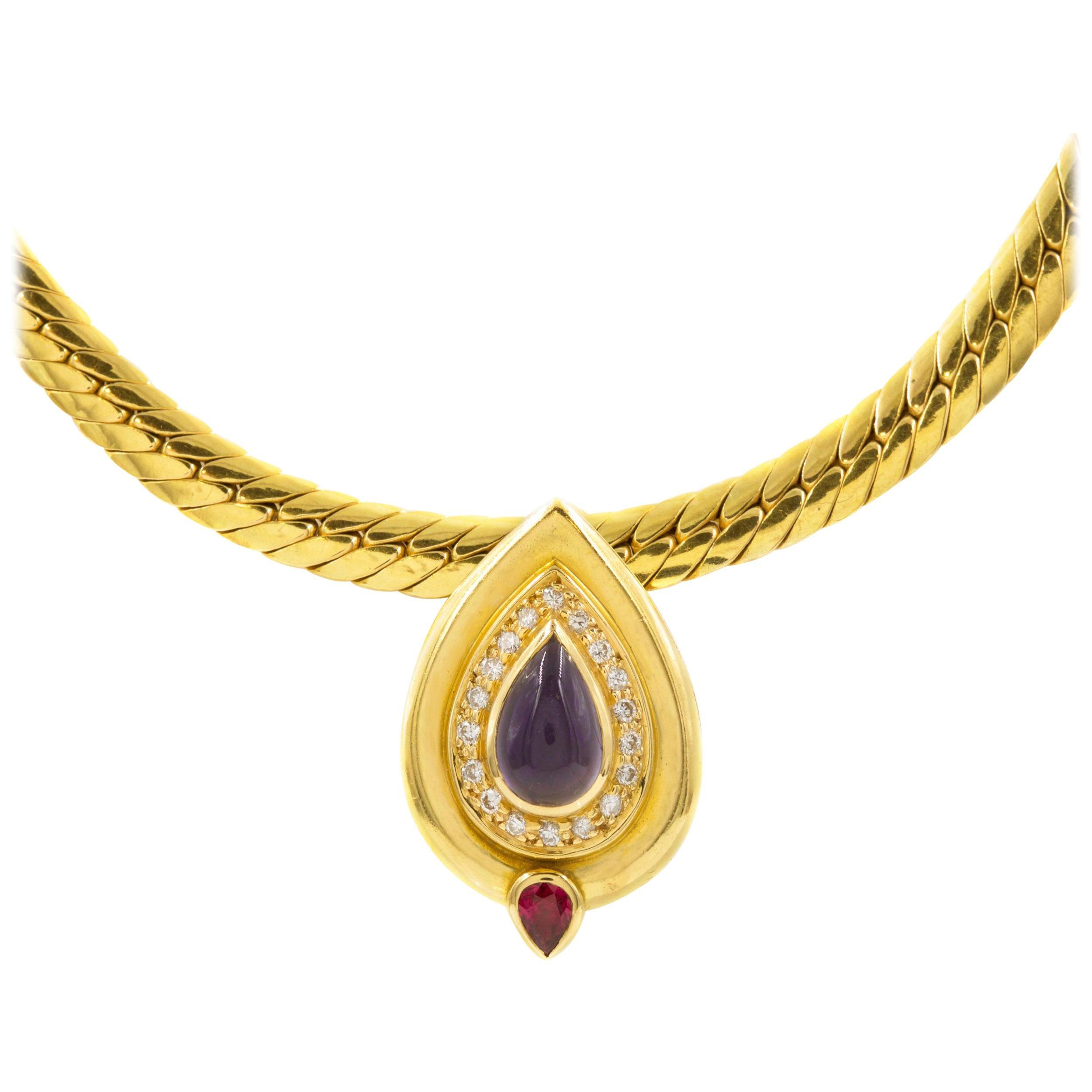 Vintage Italian 18k Gold Flexible-Link Necklace w/ Teardrop Pendant