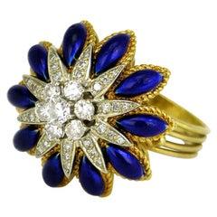 Vintage Italian 18k Yellow Gold Diamond Blue Enamel Flower Starburst Ring, 1960s