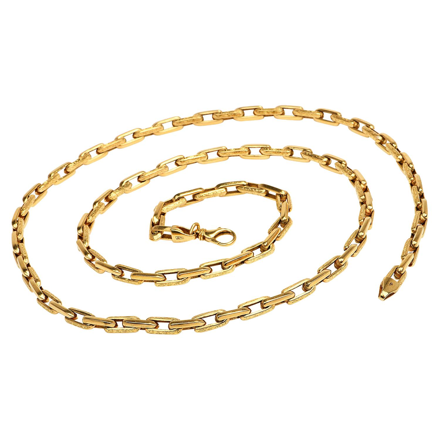 Vintage Italian 18K Yellow Gold Textured Oval Link Chain Necklace