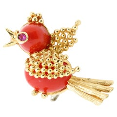 Vintage Italian 18kt Gold Brooch with Coral and Ruby, in the Shape of a Bird