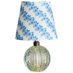 Vintage Italian 1950s Clear Murano Glass Table Lamp with Bespoke Lampshade