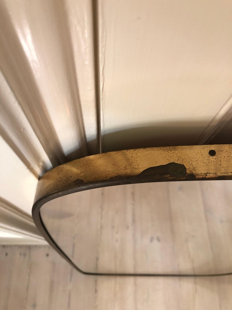 Vintage Italian 1950s Curved Brass Mirror For Sale 3