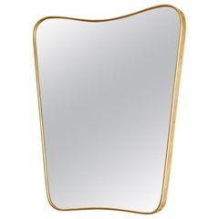 Vintage Italian 1950s Curved Brass Mirror