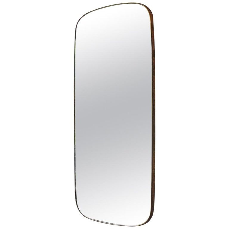 Vintage Italian 1950s Curved Brass Mirror For Sale