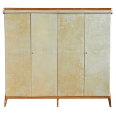 Vintage Italian 1950s Parchment Cabinet with Wooden Molding and Brass Shoes