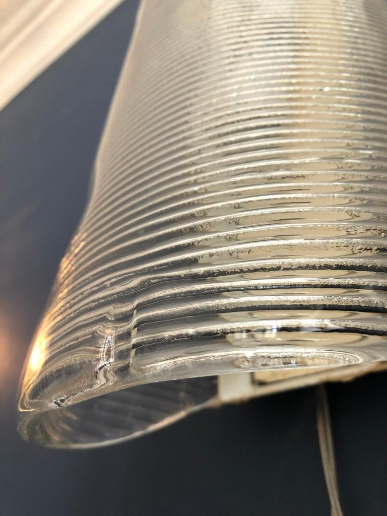 Vintage Italian 1950s Venini Applique Light in Clear Blown Glass For Sale 7