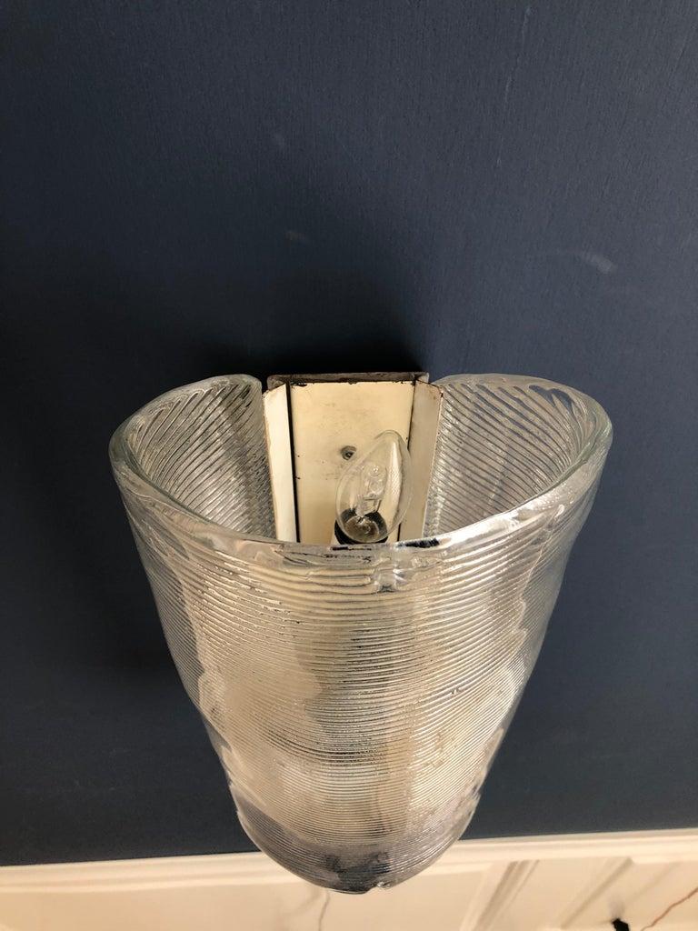 Vintage Italian 1950s Venini Applique Light in Clear Blown Glass For Sale 12