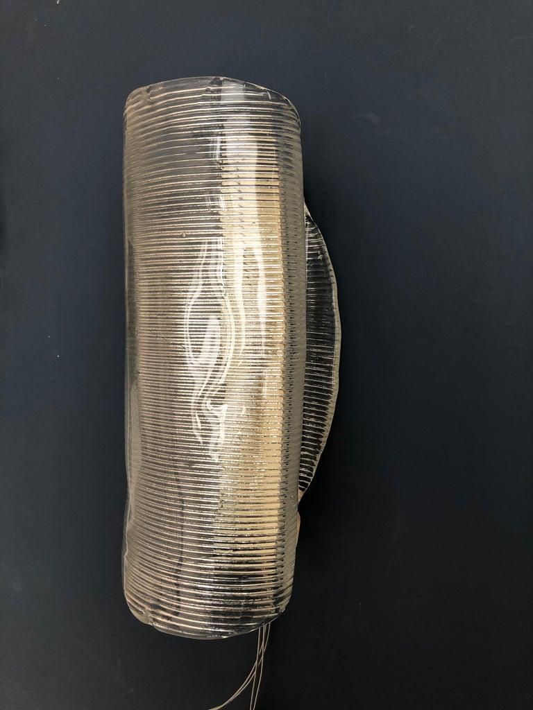 Vintage Italian 1950s Venini Applique Light in Clear Blown Glass For Sale 1