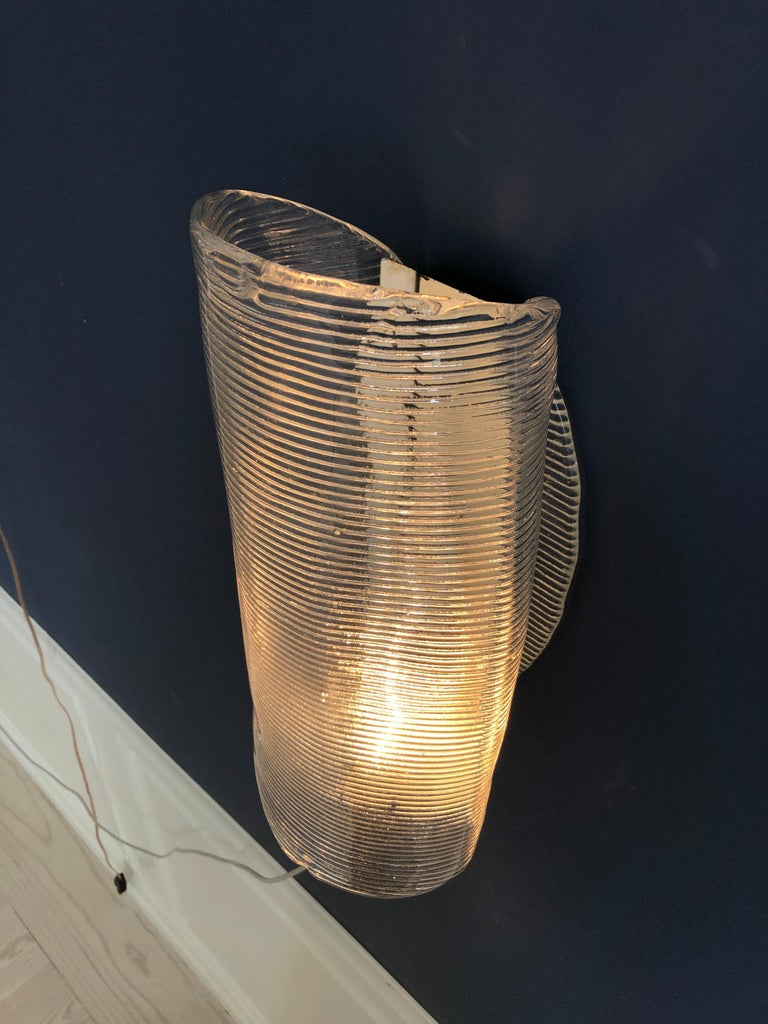 Vintage Italian 1950s Venini Applique Light in Clear Blown Glass For Sale 2