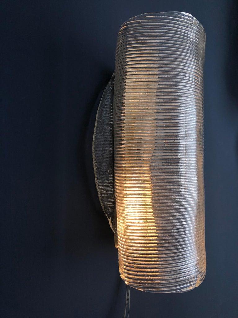 Vintage Italian 1950s Venini Applique Light in Clear Blown Glass For Sale 3
