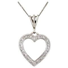 Vintage Italian 1960s Diamond and White Gold Heart Pendant