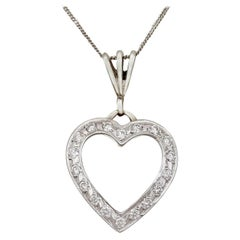 Vintage Italian 1960s Diamond and White Gold Heart Pendant