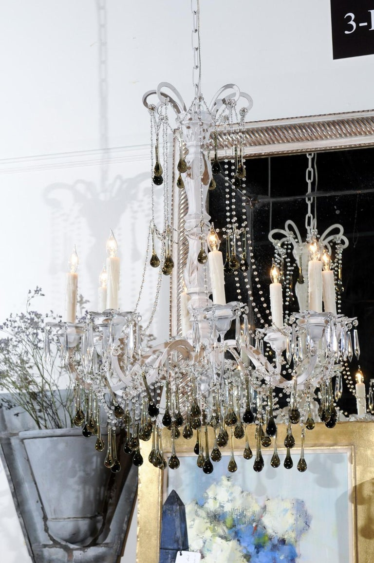 Vintage Italian 1960s Eight Light Crystal Chandelier with Olive Teardrop Prisms For Sale 3
