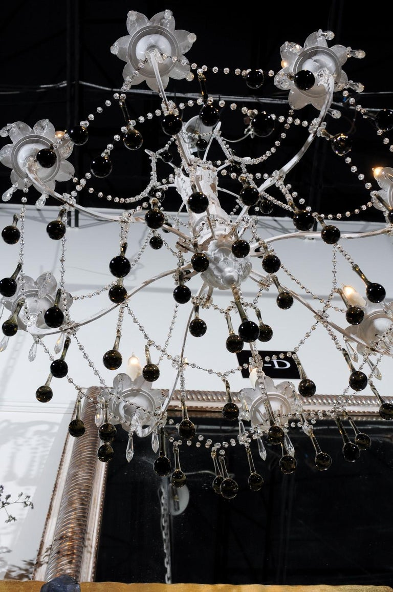 Vintage Italian 1960s Eight Light Crystal Chandelier with Olive Teardrop Prisms For Sale 4