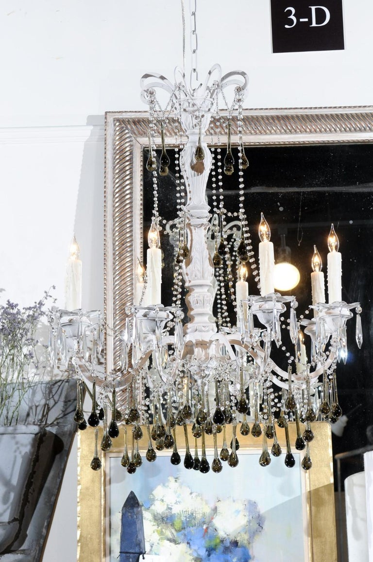 Vintage Italian 1960s Eight Light Crystal Chandelier with Olive Teardrop Prisms For Sale 5