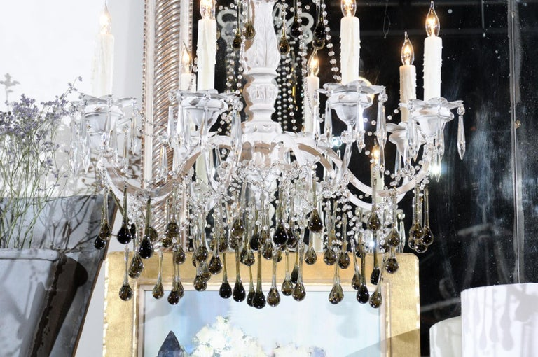 Vintage Italian 1960s Eight Light Crystal Chandelier with Olive Teardrop Prisms For Sale 6
