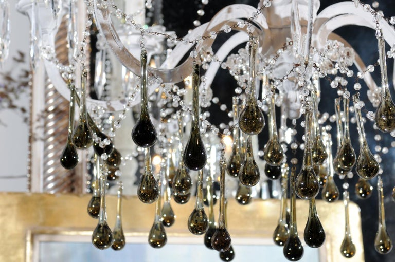 Painted Vintage Italian 1960s Eight Light Crystal Chandelier with Olive Teardrop Prisms For Sale