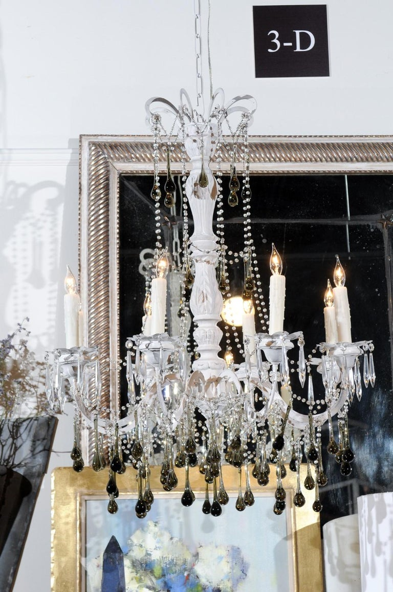 Vintage Italian 1960s Eight Light Crystal Chandelier with Olive Teardrop Prisms For Sale 1