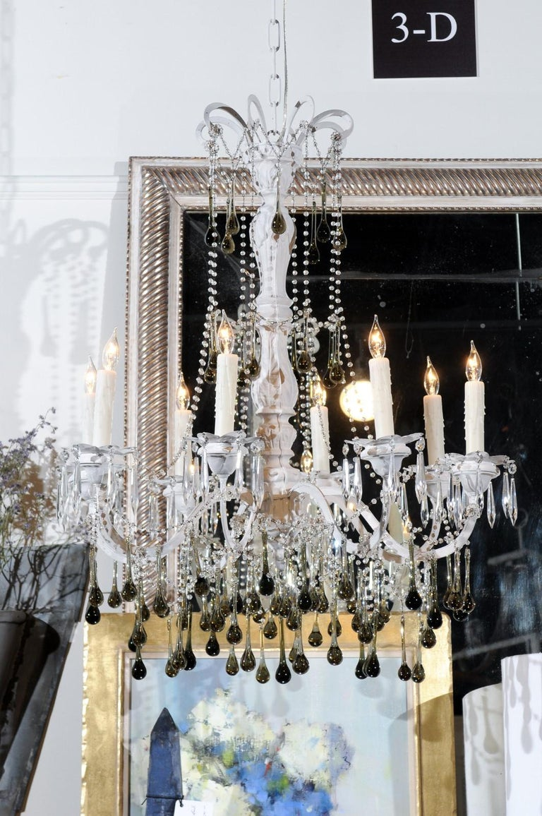 Vintage Italian 1960s Eight Light Crystal Chandelier with Olive Teardrop Prisms For Sale 2