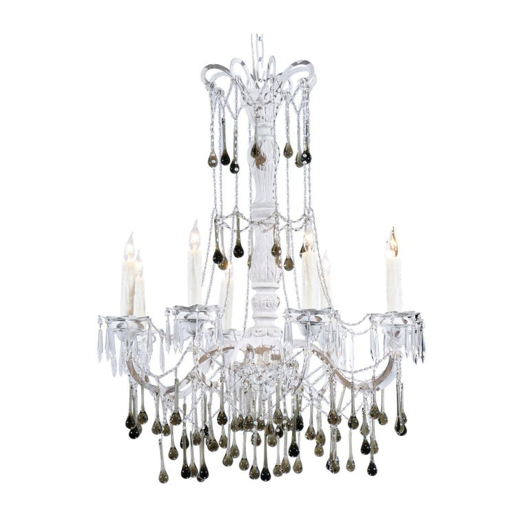 Vintage Italian 1960s Eight Light Crystal Chandelier with Olive Teardrop Prisms For Sale