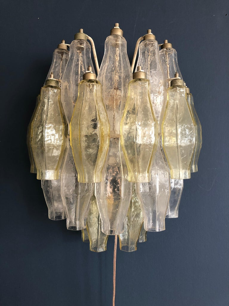 Vintage Italian 1960s Venini Polyhedral Wall Lights in Colored Blown Glass In Good Condition For Sale In Copenhagen K, DK