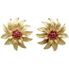 Vintage Italian 1990s Ruby and Yellow Gold Earrings