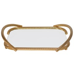 Vintage Italian 24-Carat Gold-Plated Serving Tray