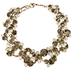 Vintage Italian Silver & Swarovski Crystal Chain Link Choker Necklace
