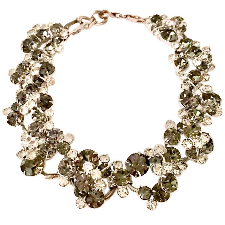 20th Century Italian Silver & Swarovski Crystal Chain Link Choker Necklace For Sale