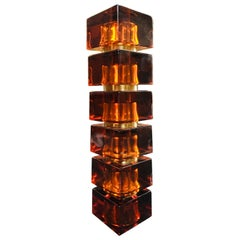 Vintage Italian Amber Colored Glass Cube and Brass Table Lamp