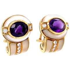 Vintage Italian Amethyst Diamond Mother Of Pearl 18 Karat Gold Ear Clips