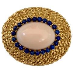 Vintage Italian Angel Skin Coral and Lapis Lazuli 18 Karat Yellow Gold Brooch